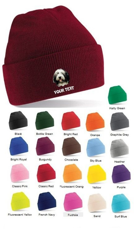 Bearded Collie Personalised Winter Hats