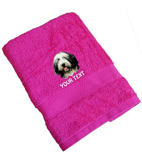 Bearded Collie Personalised Dog Towels