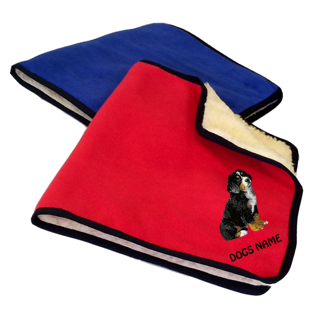 Bernese Mountain Dog Personalised Fleece Dog Blankets
