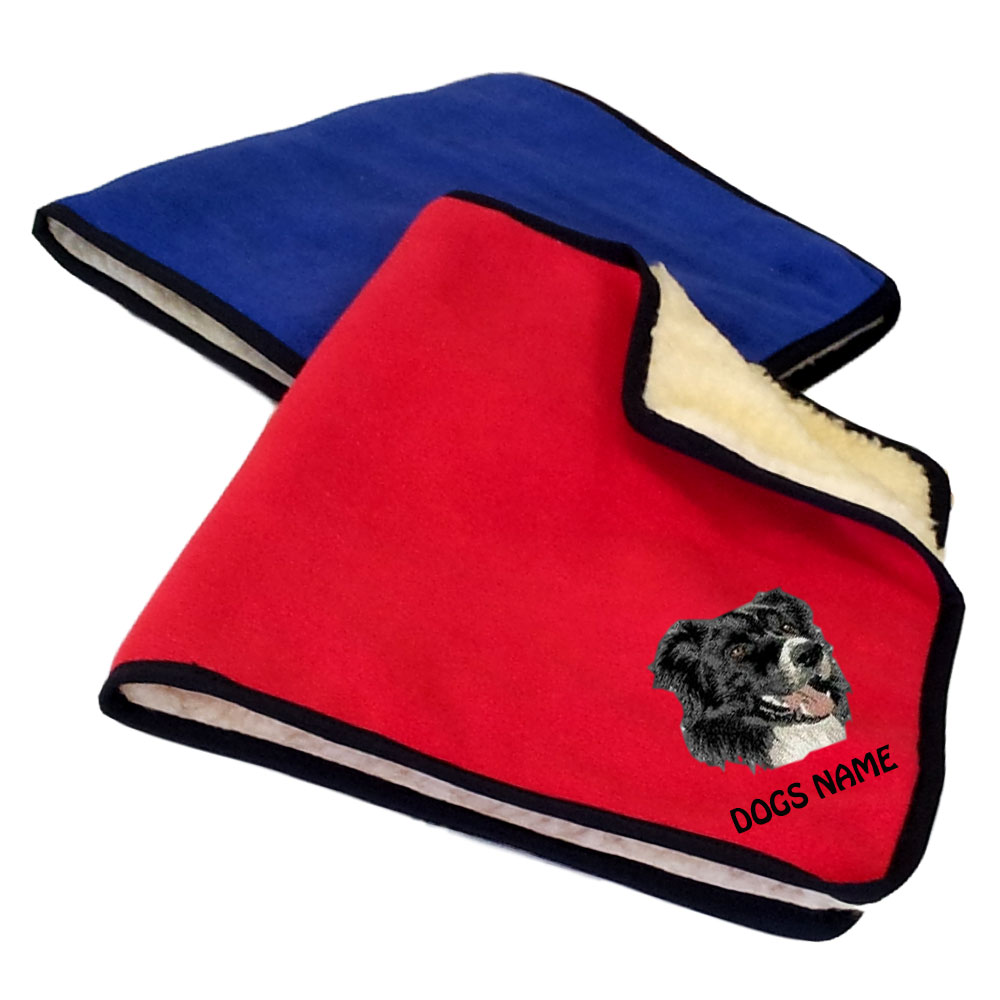 Border Collie Personalised Fleece Dog Blankets