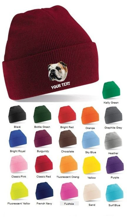 English Bulldog Personalised Winter Hats