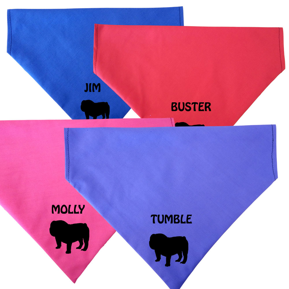 Bulldog Personalised Dog Bandanas