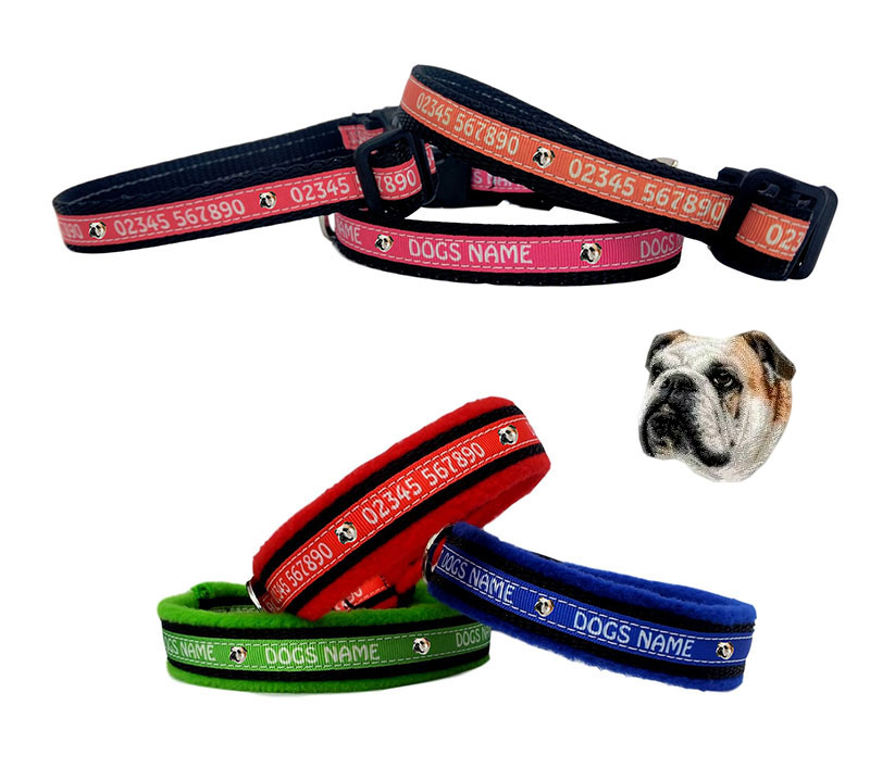 Personalised Dog Collars With Either A Name Or Number - Dog Breed Designs