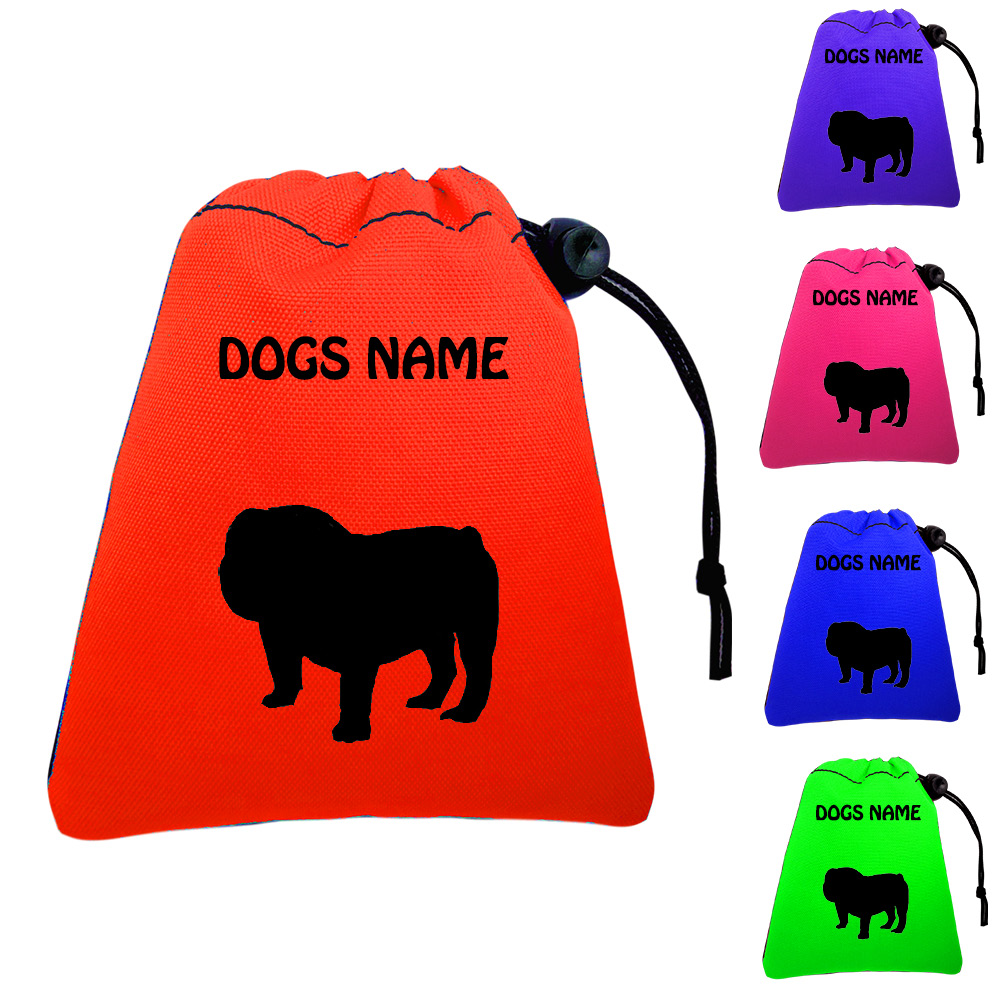 Bulldog Personalised Dog Training Treat Bags