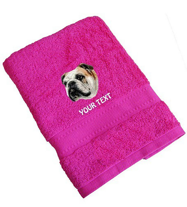 English Bulldog Personalised Dog Towels