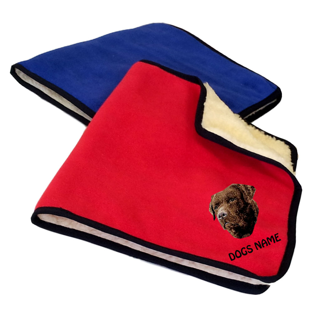 Chocolate Labrador Retriever Personalised Fleece Dog Blankets