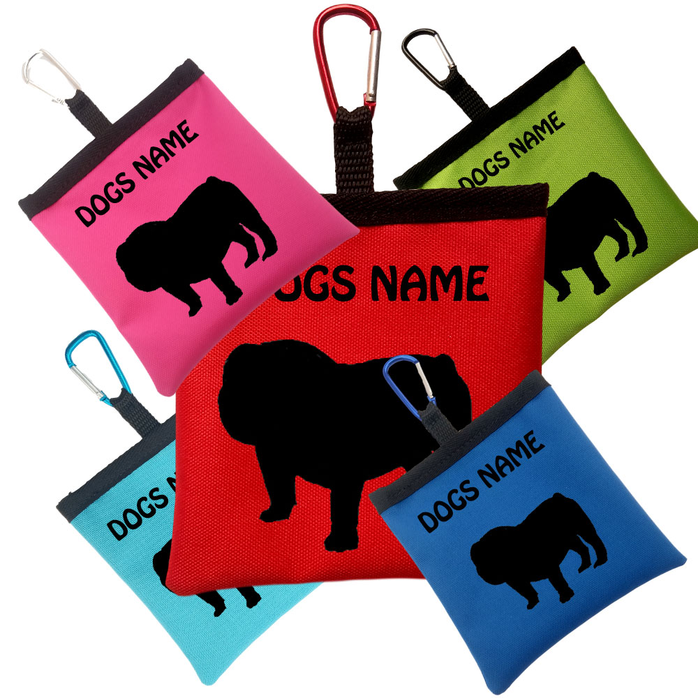 English Bulldog Personalised Dog Training Treat Bags