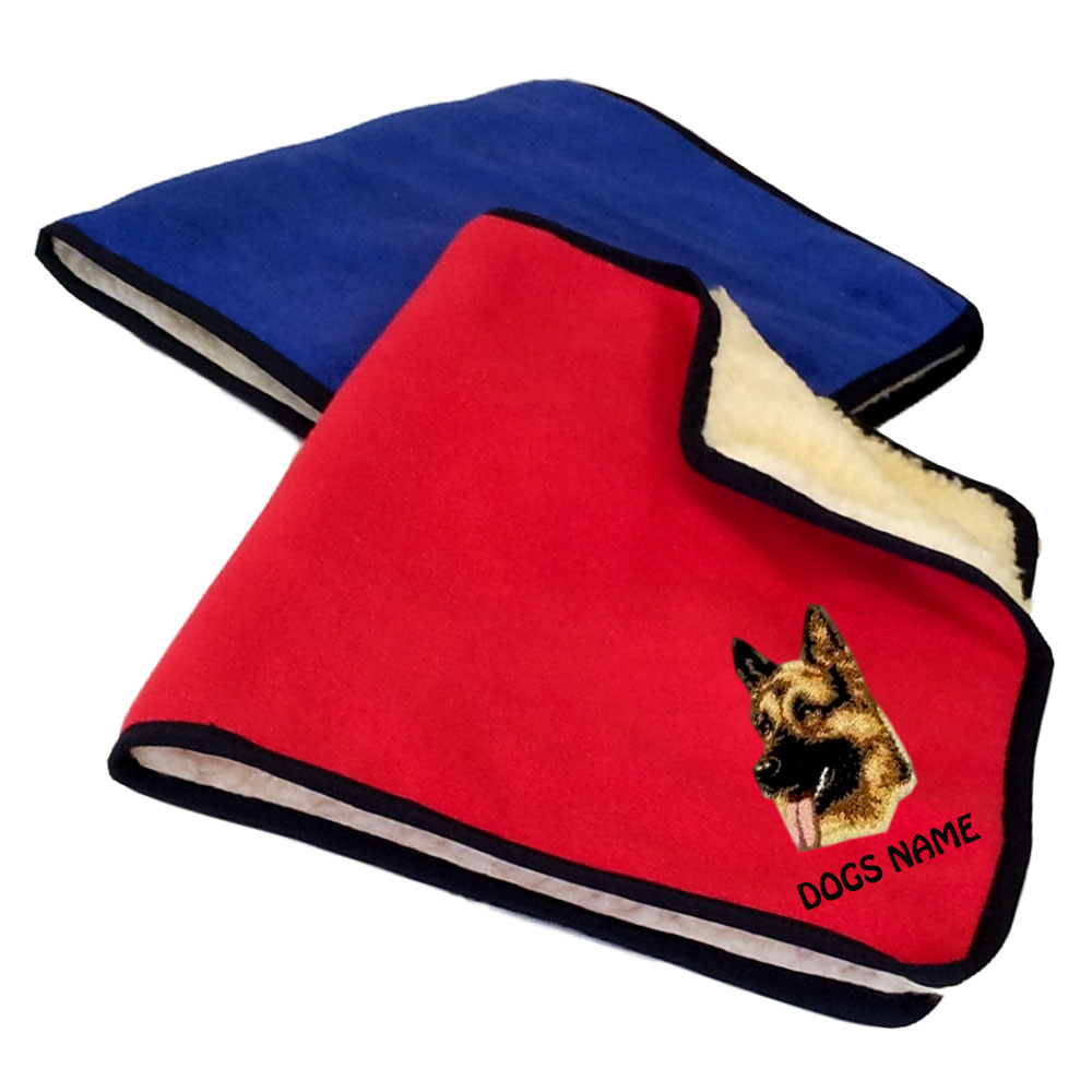 German Shepherd Personalised Fleece Dog Blankets