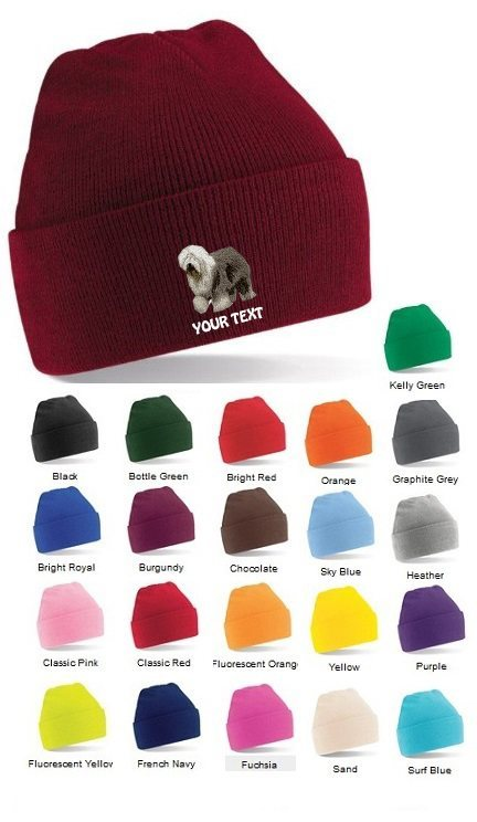 Old English Sheepdog Personalised Winter Hats