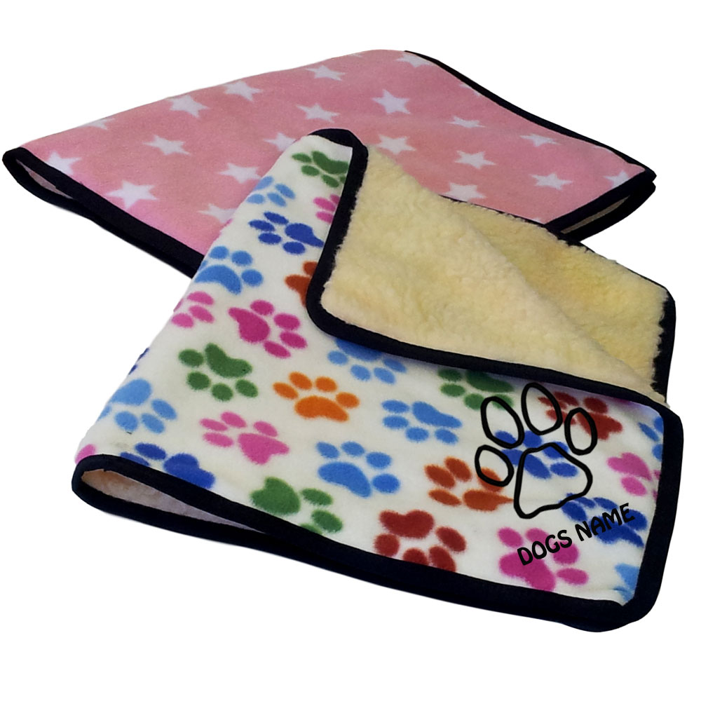 Personalised Designer Fleece Dog Blankets Paw Print Designs