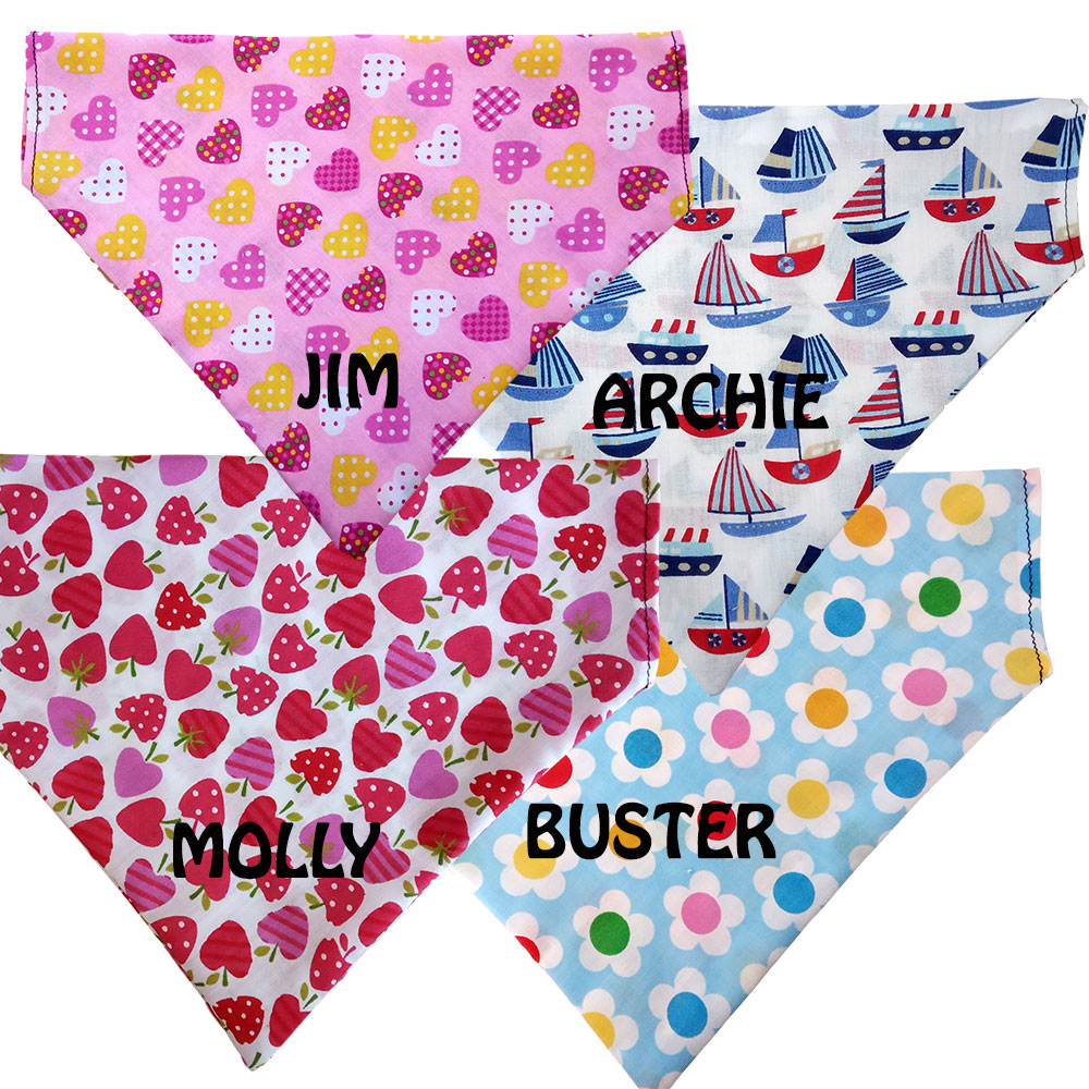 Personalised Dog Bandanas - Slide On Collar