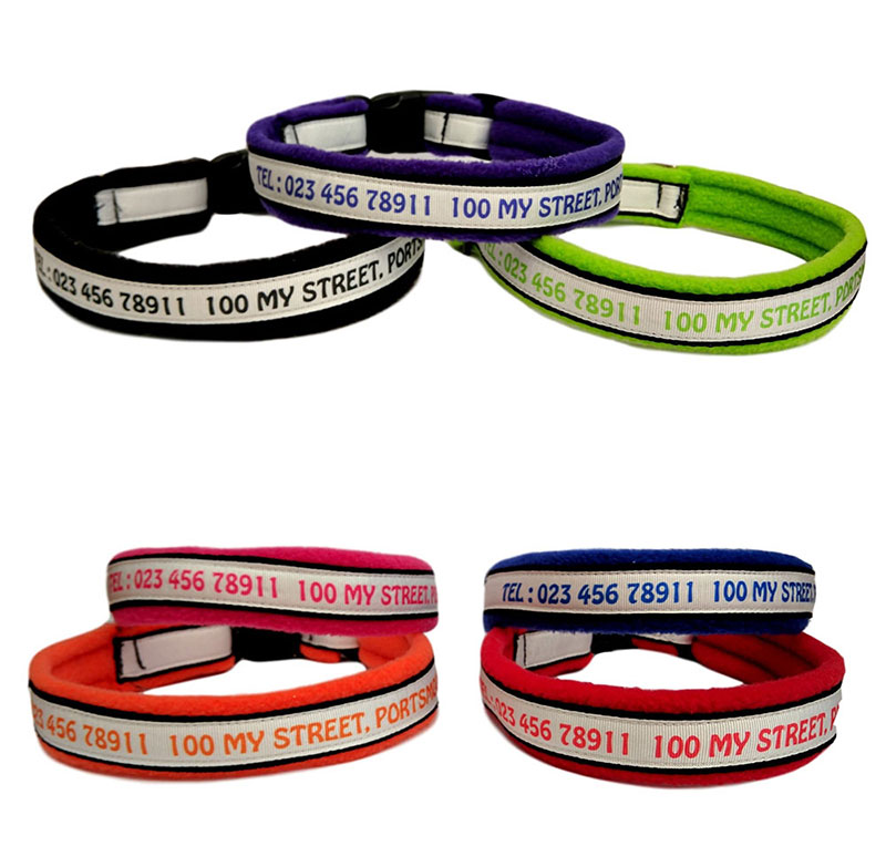 Personalised Dog Collars With Telephone Number Full Address Town Postcode & House Number
