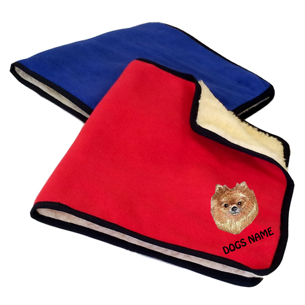 Pomeranian Personalised Fleece Dog Blankets