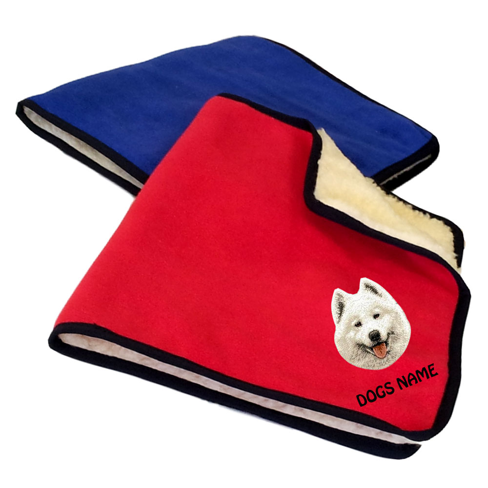 Samoyed Personalised Fleece Dog Blankets