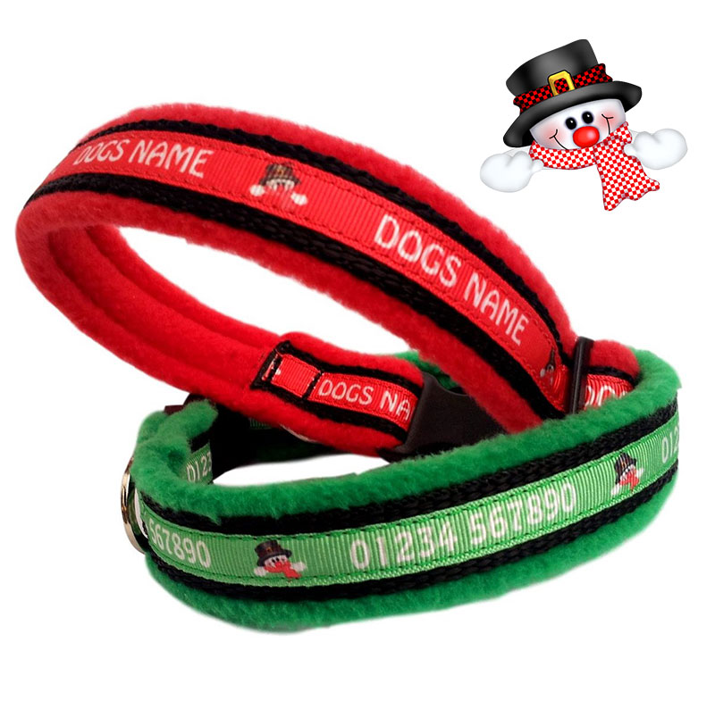 Personalised Dog Collars Christmas Designs