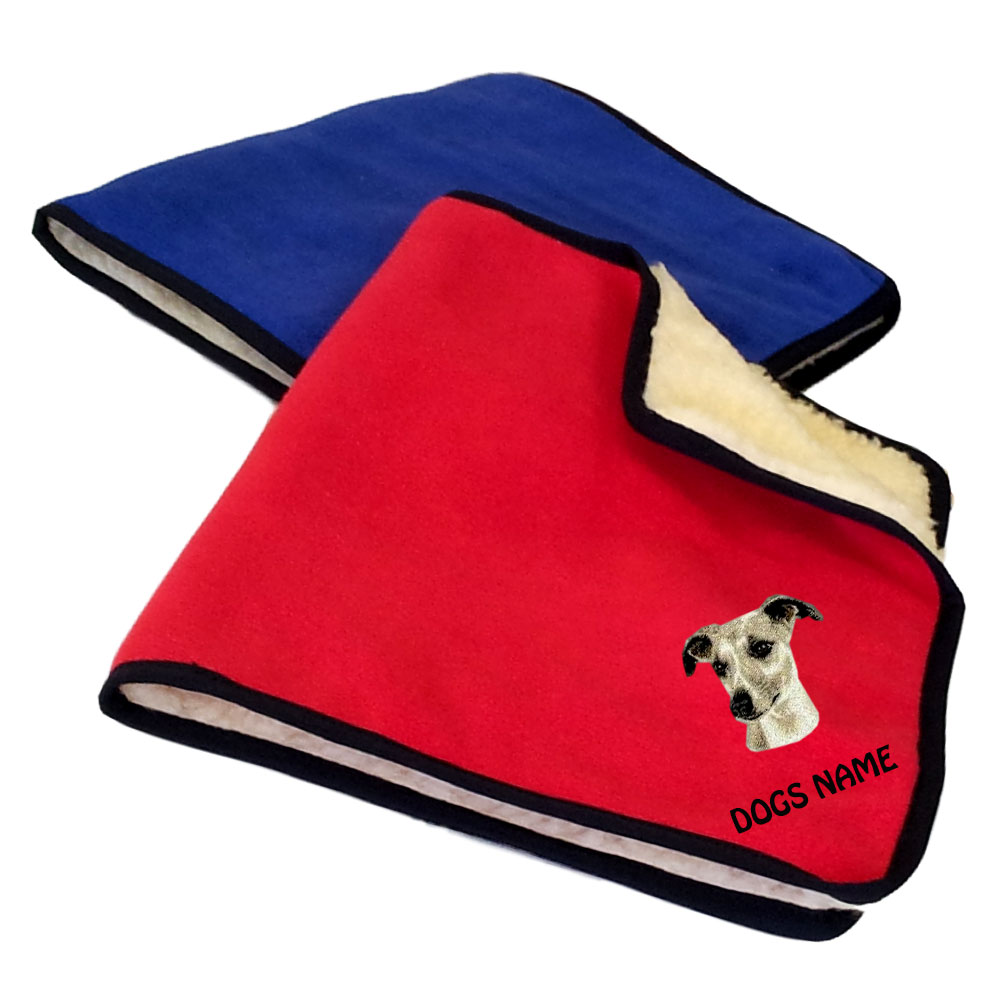 Whippet Personalised Fleece Dog Blankets
