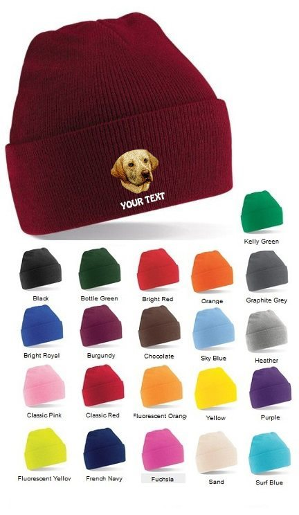 Yellow Labrador Retriever Personalised Winter Hats