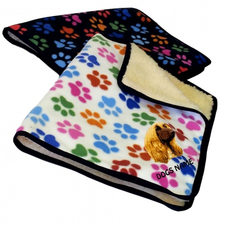 Afghan Hound Personalised Luxury Fleece Dog Blankets Paw Print Design