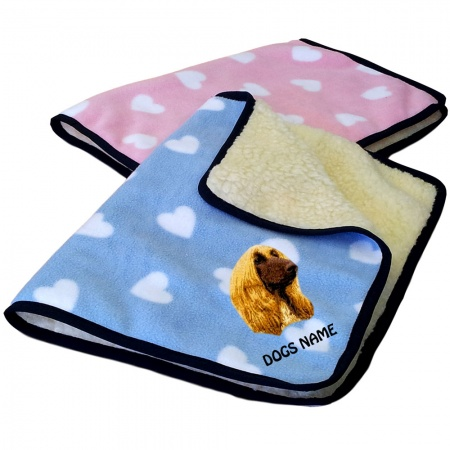 Afghan Hound Personalised Luxury Fleece Dog Blankets Heart Design