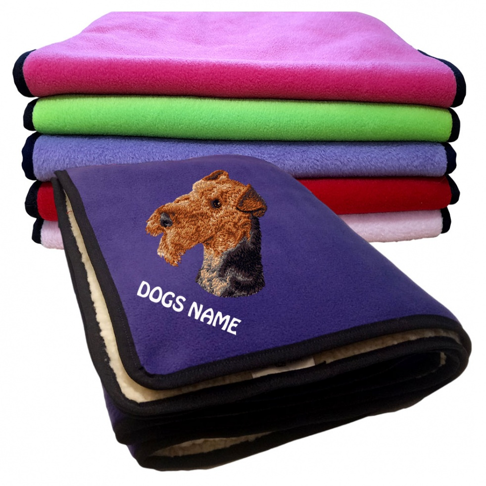 Airedale Terrier Personalised Luxury Fleece Dog Blankets Plain Colours