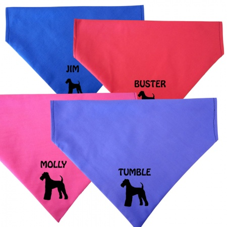 Airedale Terrier Personalised Dog Bandanas - Fit To Collar