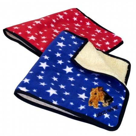 Airedale Terrier Personalised Luxury Fleece Dog Blankets Bright Stars Design
