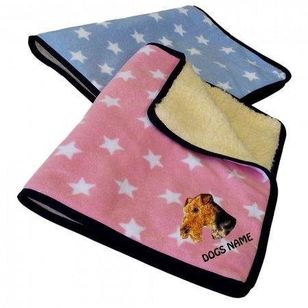 Airedale Terrier Personalised Luxury Fleece Dog Blankets Light Stars Design