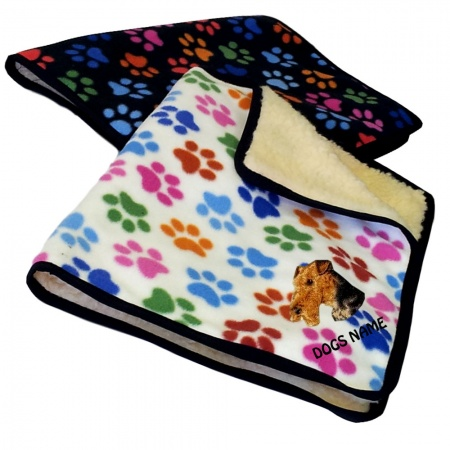 Airedale Terrier Personalised Luxury Fleece Dog Blankets Paw Print Design