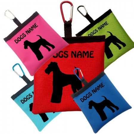 Airedale Terrier Personalised Pooh Bag Holder With Carabiner