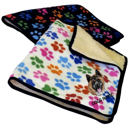 Akita Inu Personalised Luxury Fleece Dog Blankets Paw Print Design