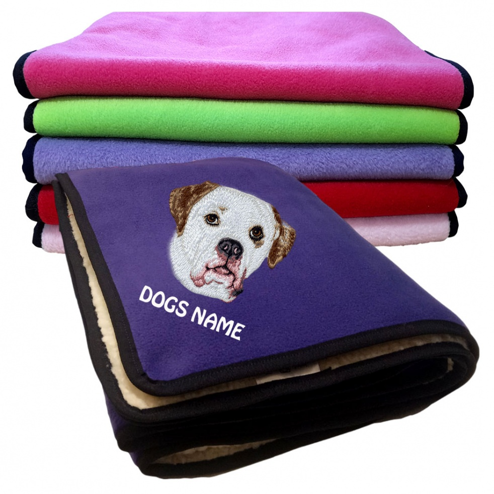 American Bulldog Personalised Luxury Fleece Dog Blankets Plain Colours