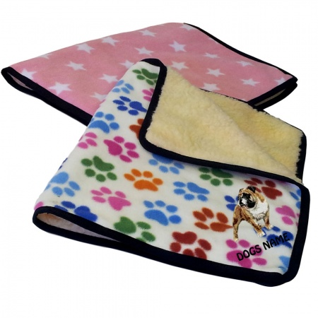 American Bulldog Personalised Luxury Fleece Dog Blankets Designer Prints