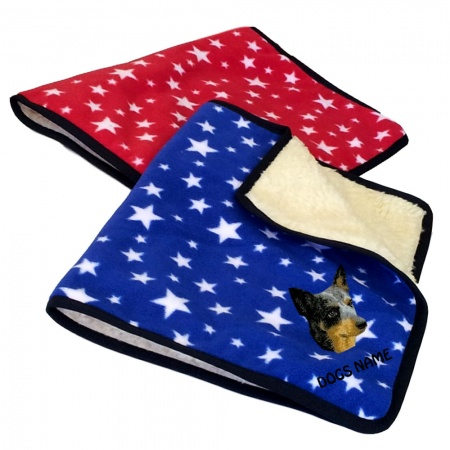 Australian Cattle Dog Personalised Luxury Fleece Dog Blankets Bright Stars Design