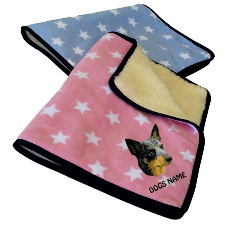 Australian Cattle Dog Personalised Luxury Fleece Dog Blankets Pale Stars Design