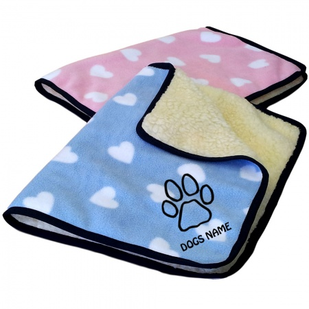 Cute Dog Personalised Luxury Fleece Dog Blankets Heart Design