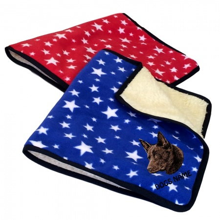 Australian Kelpie Personalised Luxury Fleece Dog Blankets Bright Stars Design