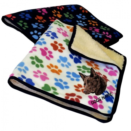 Australian Kelpie Personalised Luxury Fleece Dog Blankets Paw Print Design