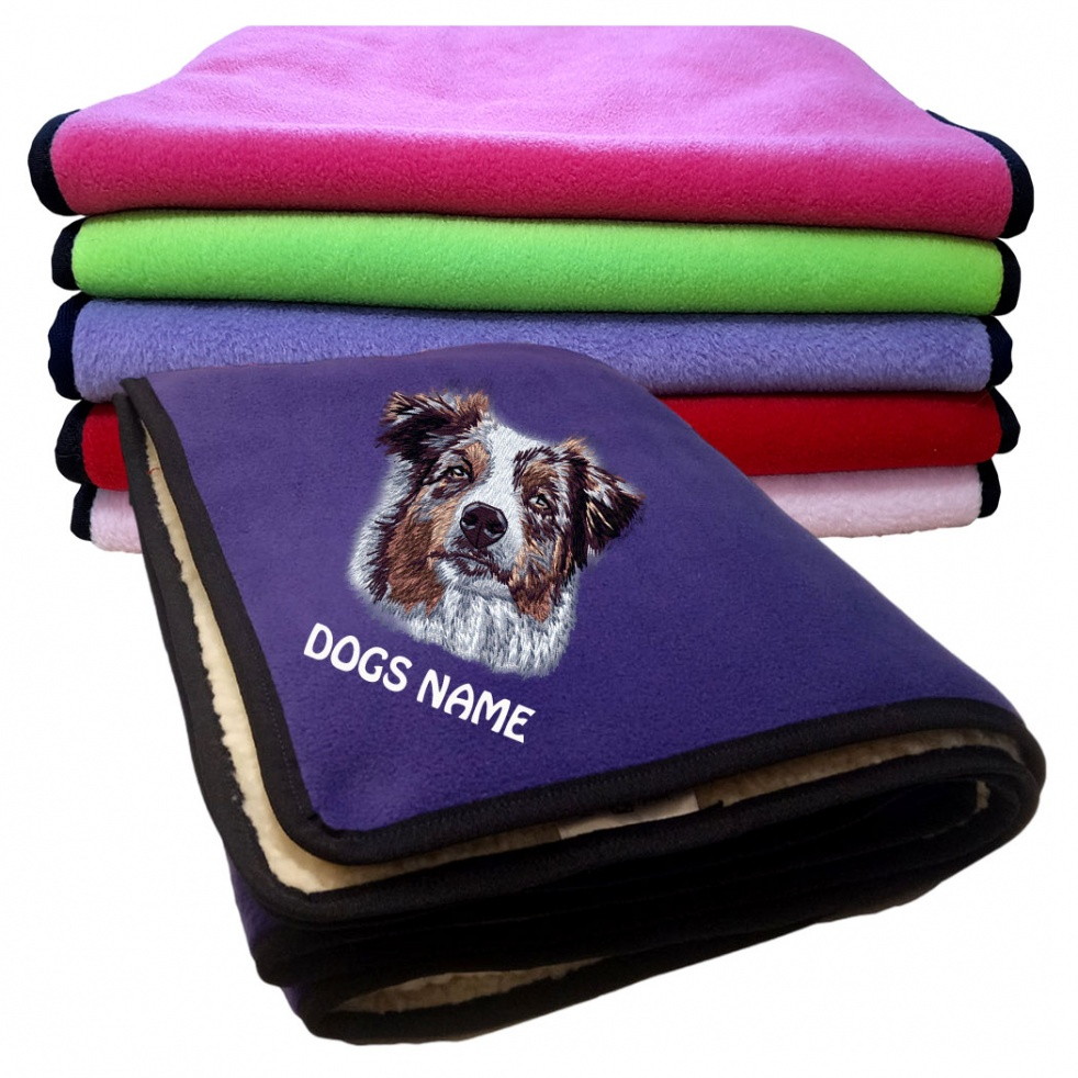 Australian Shepherd Personalised Luxury Fleece Dog Blankets Plain Colours