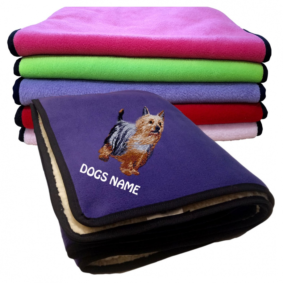 Australian Silky Terrier Personalised Luxury Fleece Dog Blankets Plain Colours