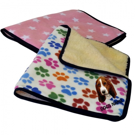Basset Hound Personalised Luxury Fleece Dog Blankets Designer Prints