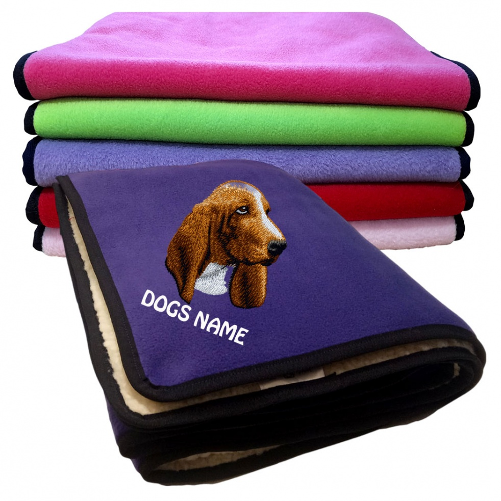 Basset Hound Personalised Luxury Fleece Dog Blankets Plain Colours