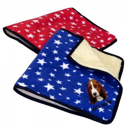 Basset Hound Personalised Luxury Fleece Dog Blankets Bright Stars Design