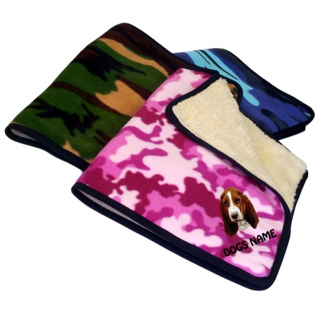 Basset Hound Personalised Luxury Fleece Dog Blankets Camouflage Design