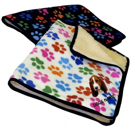 Basset Hound Personalised Luxury Fleece Dog Blankets Paw Print Design
