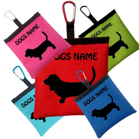 Basset Hound Personalised Pooh Bag Holder With Carabiner
