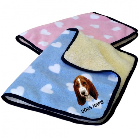 Basset Hound Personalised Luxury Fleece Dog Blankets Heart Design