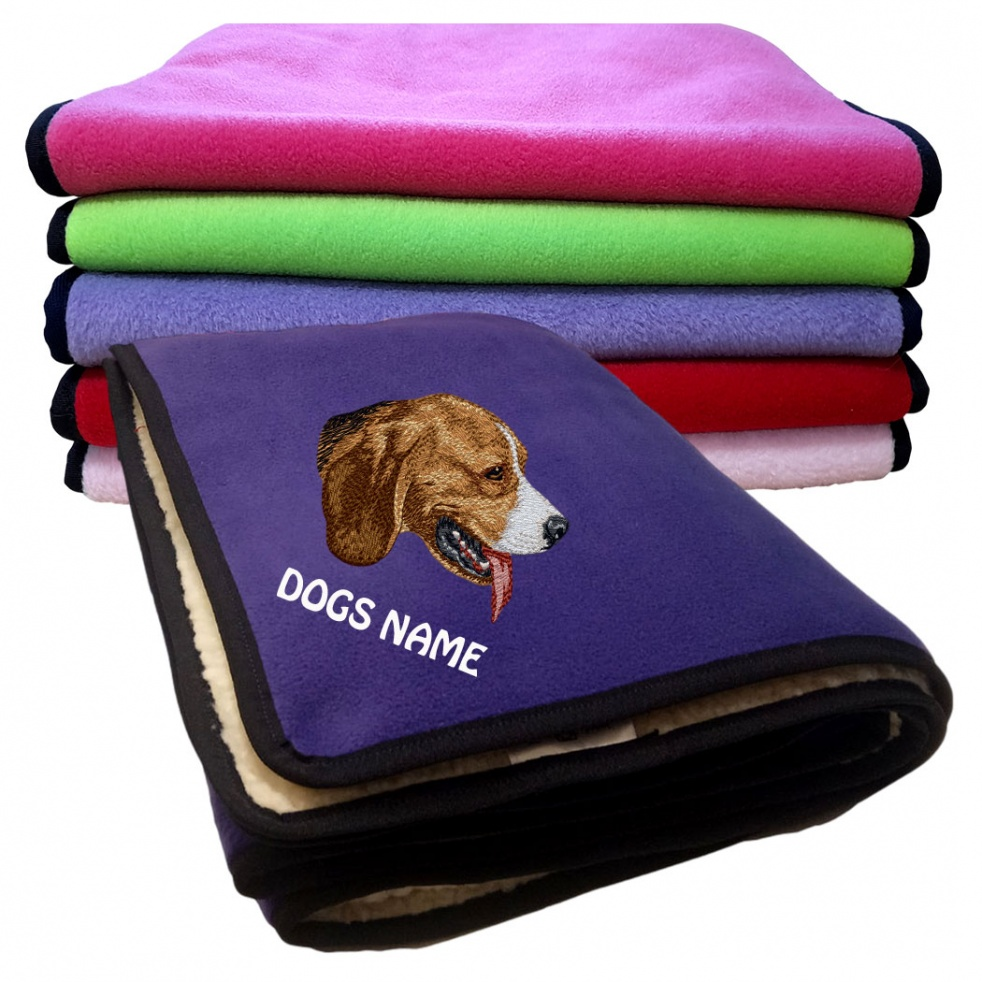 Beagle Personalised Luxury Fleece Dog Blankets Plain Colours