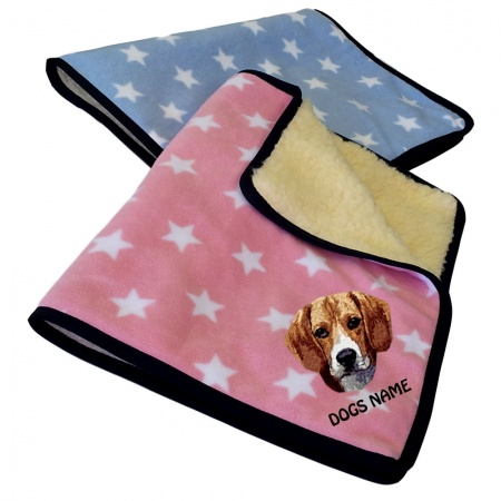 Beagle Personalised Luxury Fleece Dog Blankets Pale Stars Design