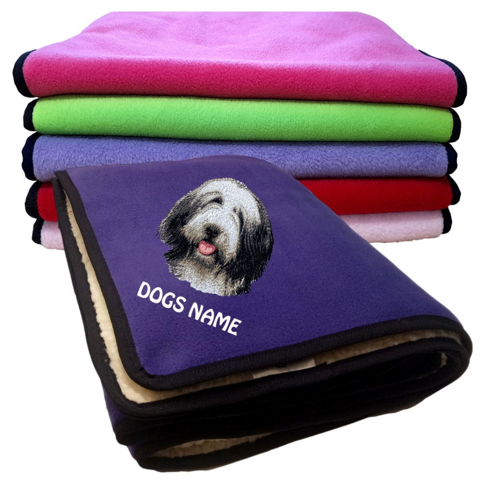 Bearded Collie Personalised Luxury Fleece Dog Blankets Plain Colours