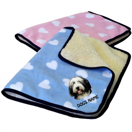 Bearded Collie Personalised Luxury Fleece Dog Blankets Heart Design